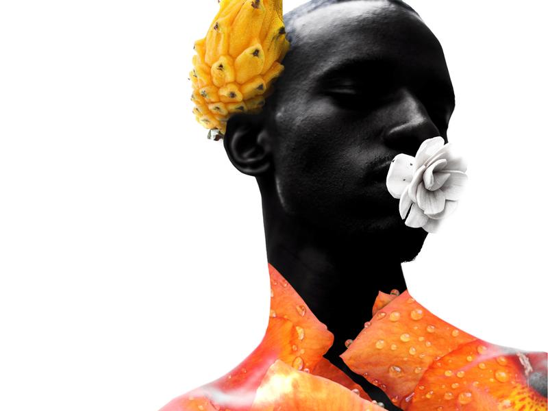Black man spring pride proud lgbtq collage portrait digital art black art illustration dark black