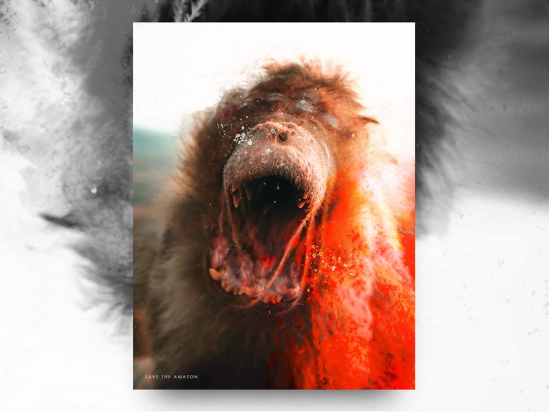 Amazon graphicdesign fire animal danger save amazon jungle illustration collage digital art