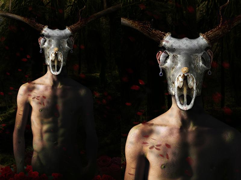 Contadino millennial digital painting dark mithology lgbtq design digital art collage illustration