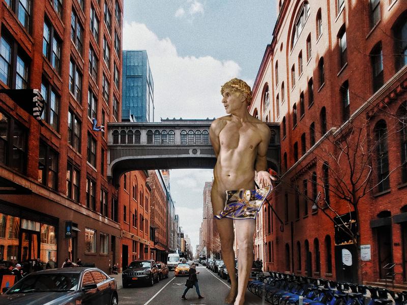 Apollo walks at 7 am collage digital painting lgbtq design digital art illustration