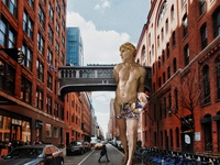 Apollo walks at 7 am collage digital painting lgbtq design digital art illustration