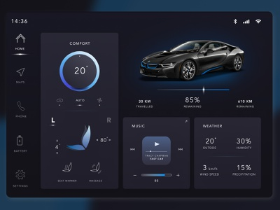 Design of the main built-in screen in BMW i8 app ux web concept design ui photoshop dribbble design