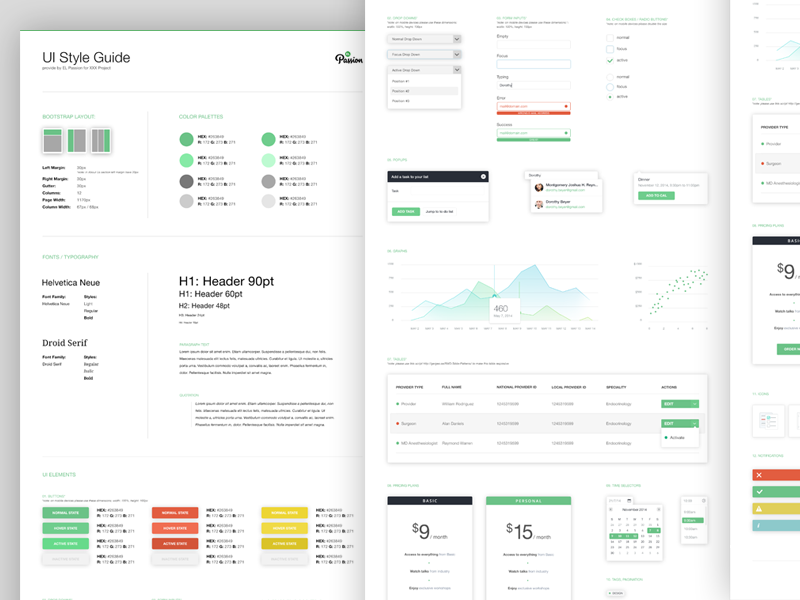 EL Passion UI Style Guide style guide elpassion ui kit elements interface guidelines form drop down typography ui design user interface color pallete