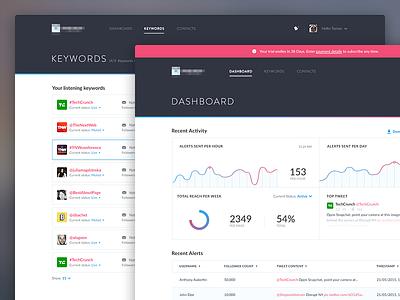 Retweet app (dashboard) navigation tweets menu table list chart graph application dashboard ux ui