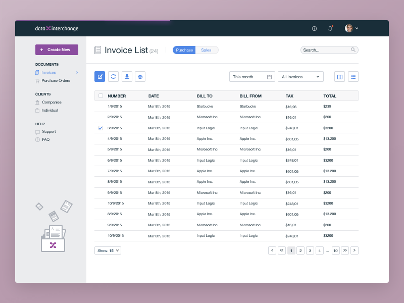 Invoice list page (dashboard) by EL Passion