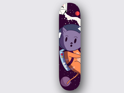 Skateboard Space Cat cats cat catdesign spacecat skateboards logomark typography branding skateboard design illustration