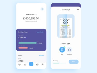 Personal finance app UI design