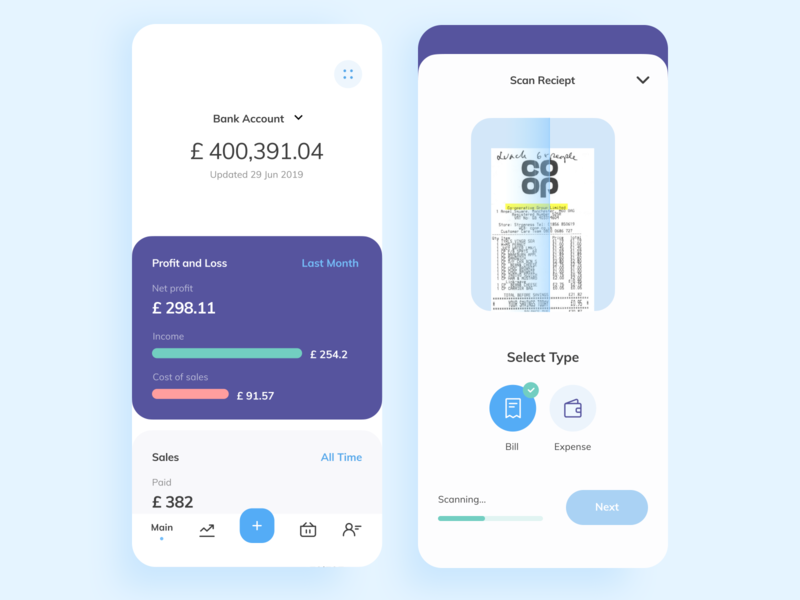 Personal finance app UI design ux ui scan reciept mobile ui mobile ios illustration finance design cuberto card banking balance app amount account