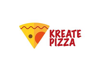 Kreate Pizza logo brand flat design graphic pizza food