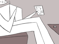 Sitting man with newspaper and coffee