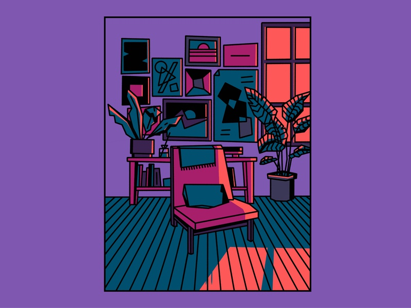 Chair character design proces ipad procreate design isaac claramunt illustration blanket shadow moonlight night room pictures posters window plants plant flat sofa chair