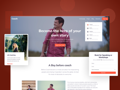 Online Coach Bootstrap Theme web clean dailyui design branding landing page web design abstract webdesign ux ui courses business event program podcast uikit homepage