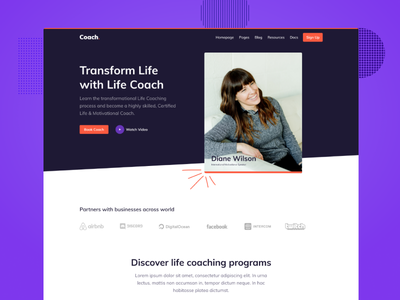 Life Coach Theme for Coaching Business clean abstract website website design web product design bootstrap theme webdesign event program coach theme ux ui podcast