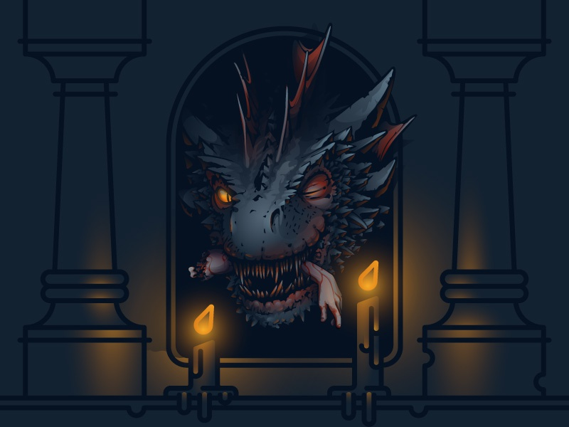 Drogon vector illustration candles wink head dragon drogon game of thrones
