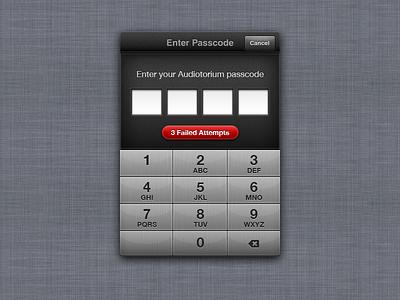 Passcode popover brushed metal steel number pad pin passcode ios app ui design