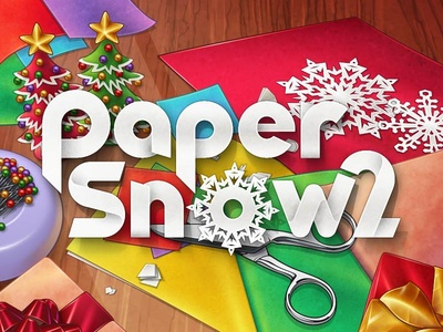 Paper Snow 2 illustration vector font christmas present scissors snowflake snow paper logo title game