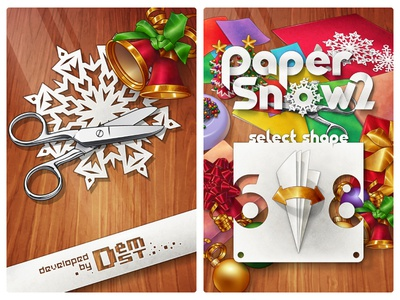 Papersnow 2 Splash And Main Screen vector christmass bell scissors snowflake paper snow ios game app ui design