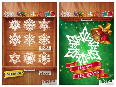 Papersnow2 Create drawer badge wood vector christmass bell snowflake paper snow app ui design