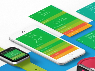 Stay or Go colors forecast weather ui design apple watch iphone ios app