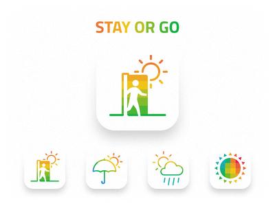 Stay or Go icon umbrella door rain cloud sun weather logo iphone ios app icon