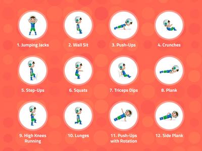 Exercises pose child kid girl boy fitness sport exercise character
