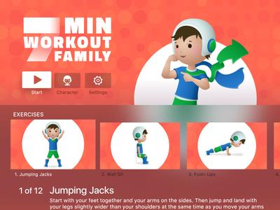 7 Min Workout Family for Apple TV 7 minutes sport fitness boy kid design ui apple tv app