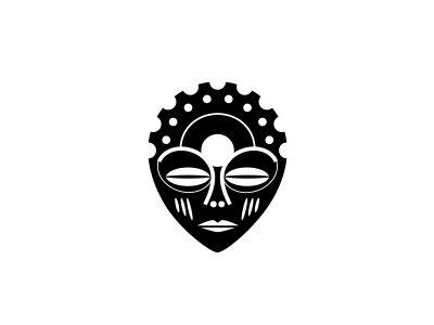 Cognative mask mountain biking native cog biking mtb african mask face zulu logomark logo identity branding cognative