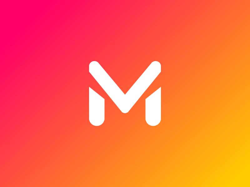 M stencil gradient m typography mark concept identity logomark logo branding