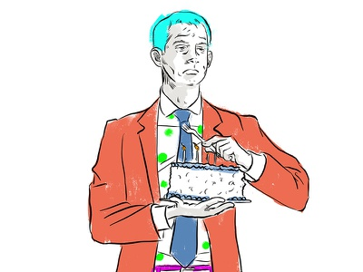 Tom Cotton and all his birthday cake drawing arkansas politics cake editorial illustration birthday