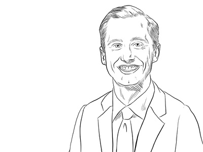 Democratic Arkansas House candidate Nate Looney  pen and ink black and white arkansas politics portrait drawing