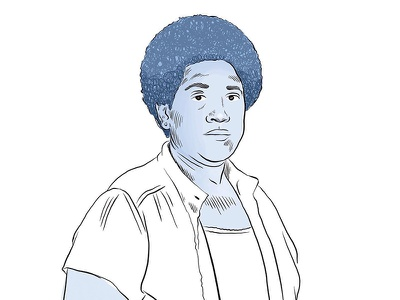 Audre Lorde inktober illustration two color pen and ink portrait lgbtq