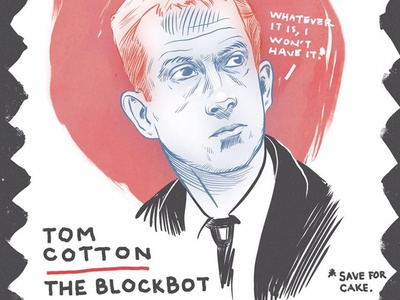 Tom Cotton arkansas inktober illustration three color pen and ink portrait lgbtq
