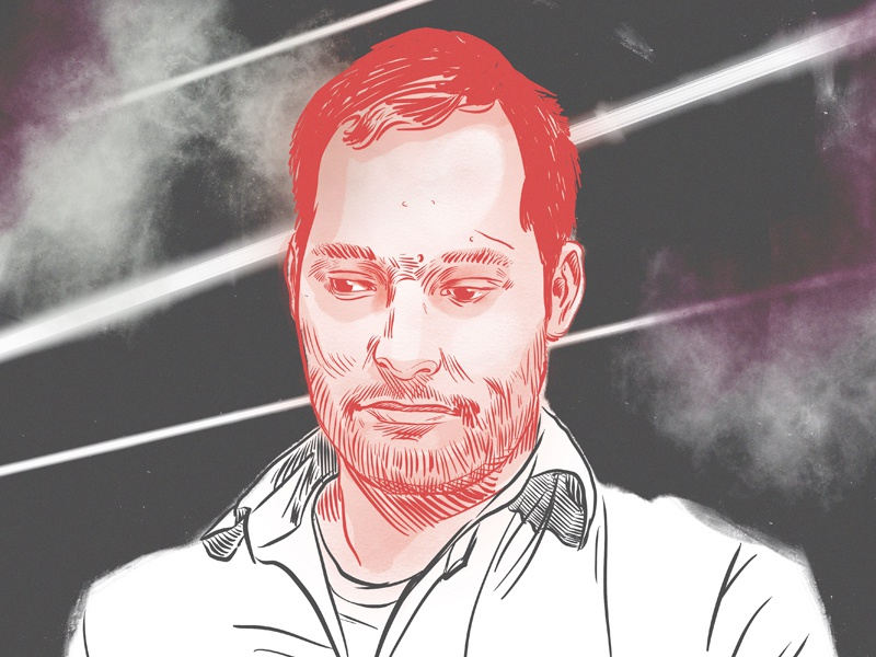 Harris Wittels comedy digital pen and ink portrait
