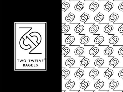 Two-Twelve° Bagels WIP lines black and white logo bagel pattern