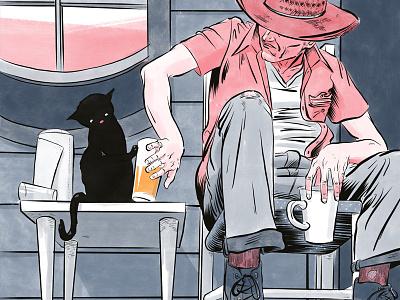 Chat the Beverage Tipper orange juice chat noir black cat chat