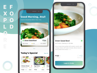 Food Ecommerce detailpage listingpage login order online food search food ratings ios apps ecommerce food foodmenu add to cart food app dinner lunch breakfast food order dish discovery app concept landing experience landing page ui app design