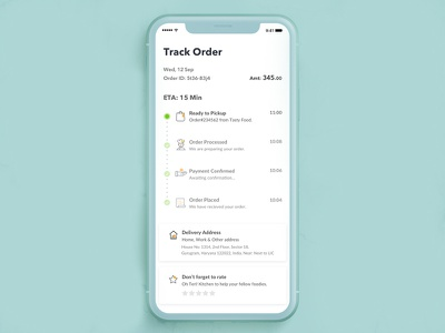 Track Order - Food & Shipment shipment track delivery status courier tracking rider tracking android app order history arrival time order in process rate restaurant delivery address rate payment confirmed online food food order order placed order status timeline live action live tracking order tracking