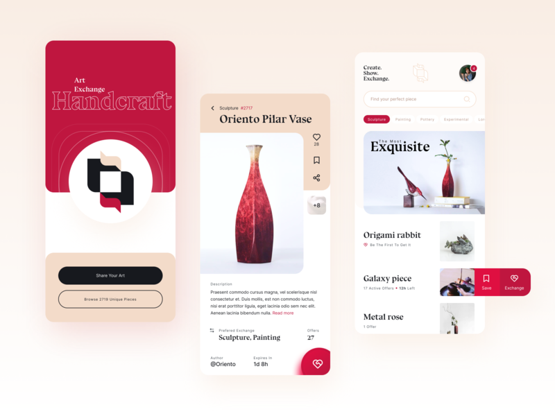 Handcraft | Barter trade art pieces - app exploration exercise workshop figma exploration marketplace typography branding logo concept architecture app ux ui design