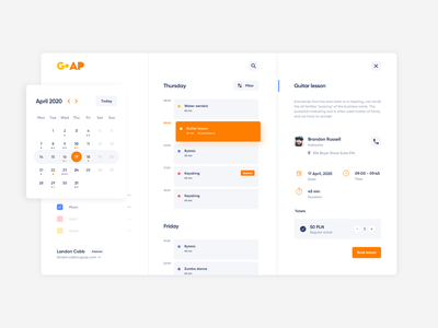 GoAPP: Building a ready-to-use mobile app prototype ui minimal statistycs booking calendar events lessons hobby music learning ideamotive