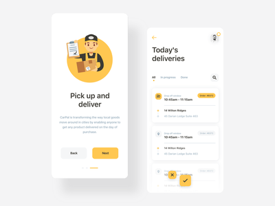 Changing the way the goods move in cities - CarPal minimalist logo city branding mapping minimal flat statistics mobile ux city map logistics yellow fleet