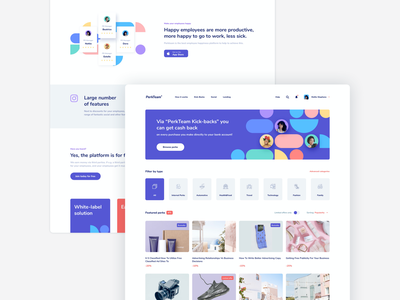 PerkTeam app card price featured sort toggle category filters job badges perks marketplace website product shapes employee landingpage landing webdesign