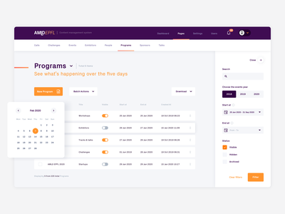 AMLD: building a web app for managing an AI event range purple list search form input datepicker date filters cms dashboard attendees technology swiss ai conference days machinelearning machine applied
