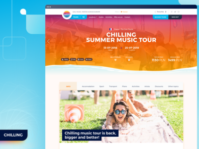 Chilling web app snowshow info booking party summer product landing page event web ux ui