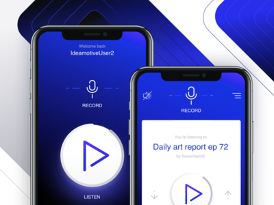 Voice sharing app concept phone ios app design ux ui