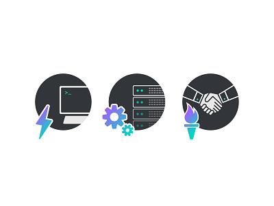 Icon Set icons icon set lightning gear torch handshake servers monitor