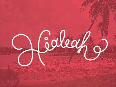 Hialeah lettering hand-lettering tropical miami hialeah vector palm trees flamingos