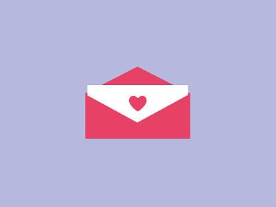 Signed, Sealed, Delivered valentine heart envelope icon illustration