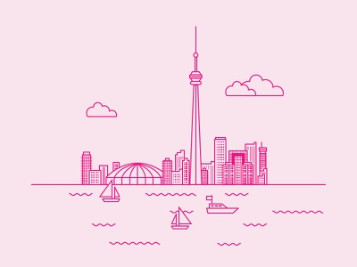 Canada's CN Tower boats buildings cityscape city cn tower canada illustration