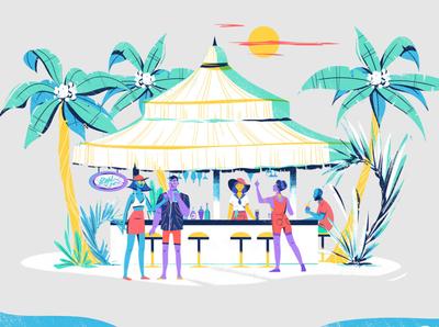 Catch Jobs barman palmtree bar beach jobs character design illustration