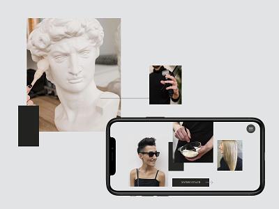 Dynamic grid colorblock grid hair fashion website web design